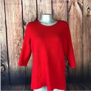 J Jill Sweater Size Med cotton Pullover Red